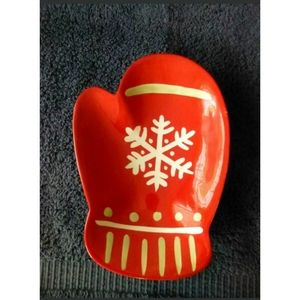 Hallmark Candy Dish Serving Plate Red Christmas